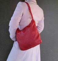 Boho Chic Red Leather Ho bo Bag - Braided Handle Purse - Bohemian Shoulder Handbag claudia