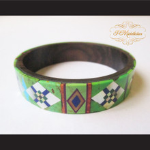 P Middleton Camagong Wood Bangle Elaborate Micro Inlay Design 4