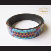 P Middleton Camagong Wood Bangle Elaborate Micro Inlay Design 6