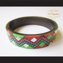P Middleton Camagong Wood Bangle Elaborate Micro Inlay Design 9