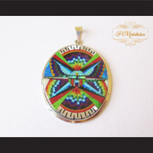 P Middleton Oval Radiant Kachina Pendant Sterling Silver .925 with Micro Inlay Stones Design