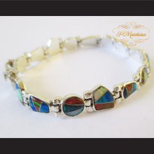 P Middleton Multi-colored Stones Inlay Bracelet Sterling Silver .925