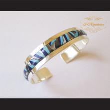 P Middleton Geometric Micro Inlay Cuff Bracelet Sterling Silver .925