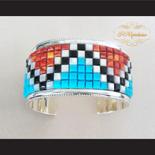 P Middleton Corn Row Cuff Bracelet Sterling Silver .925 with Semi-Precious Stones