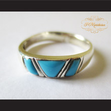 P Middleton Triple Turquoise Ring Sterling Silver .925