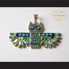 P Middleton Flying Owl Pendant Sterling Silver .925 with Micro Inlay Stones
