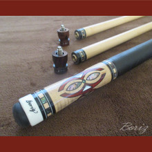 Boriz Billiards Pro Series 4 Black Leather Grip w/ Pool Cue Joint Protectors