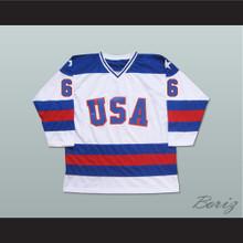 1980 Miracle On Ice Team USA Bill Baker 6 Hockey Jersey White