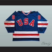 1980 Miracle On Ice Team USA Dave Silk 8 Hockey Jersey Blue