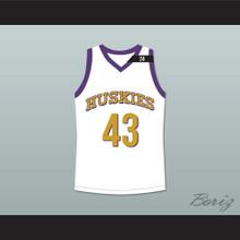 Marlon Wayans Kenny Tyler 43 Huskies Basketball Jersey The 6th Man White Tribute