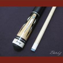 Boriz Billiards Black Leather Grip Pool Cue Stick Original Inlay Artwork 023