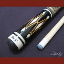 Boriz Billiards Laminated Snake Skin Grip Pool Cue Stick Original Inlay Artwork 027
