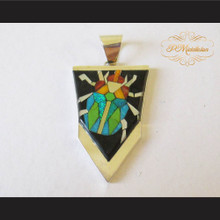 P Middleton Beetle Pendant Sterling Silver .925 with Micro Inlay Stones