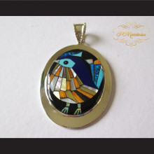 P Middleton Quail Pendant Sterling Silver .925 with Micro Stone Inlay