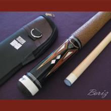 Boriz Billiards Brown Snake Skin Grip Pool Cue Stick Original Inlay Artwork 035