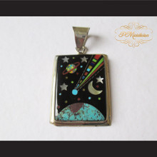 P Middleton Comet Pendant Sterling Silver .925 with Micro Inlay Stones