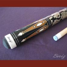 Boriz Billiards Laminated Snake Skin Grip Pool Cue Stick Original Inlay Artwork 036