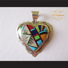 P Middleton Heart Pendant Sterling Silver .925 with Semi-Precious Stones