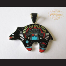 P Middleton Kachina Bear Pendant Sterling Silver .925 with Micro Inlay Stones