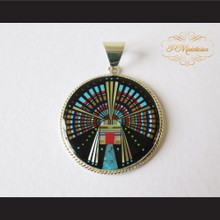 P Middleton Kachina Circle Pendant Sterling Silver .925 with Micro Inlay Stones