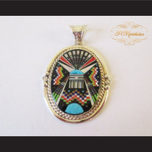 P Middleton Kachina Oval Pendant Sterling Silver .925 with Micro Inlay Stones