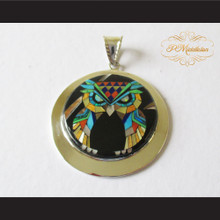 P Middleton Large Owl Pendant Sterling Silver .925 with Micro Stone Inlay