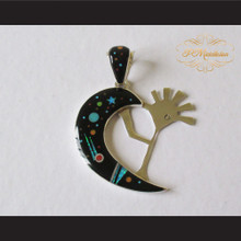 P Middleton Kokopelli Cosmic Pendant Sterling Silver .925 with Micro Inlay Stones