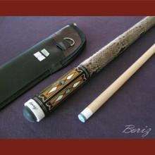 Boriz Billiards Laminated Snake Skin Grip Pool Cue Stick Original Inlay Artwork 038