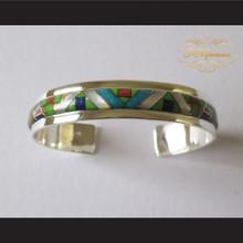 P Middleton Geometric Micro Inlay Stones Cuff Bracelet Sterling Silver .925