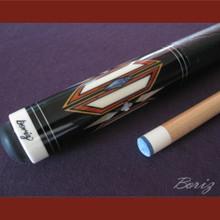 Boriz Billiards Black Leather Grip Pool Cue Stick Original Inlay Artwork 040
