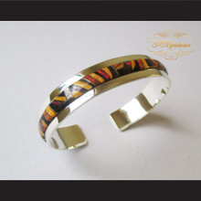 P Middleton Mosaic Micro Inlay Cuff Bracelet Sterling Silver .925