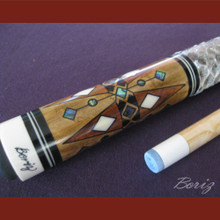Boriz Billiards Snake Skin Grip Pool Cue Stick Original Inlay Artwork 041