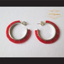 P Middleton Red Hoop Earrings Sterling Silver .925