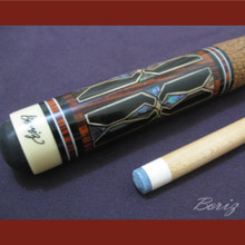 Boriz Billiards Brown Snake Skin Grip Pool Cue Stick Original Inlay Artwork 048