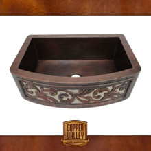 Copper Valley Farmhouse Sink 14 Gauge Nickel Plated Floral Design Curved Apron Kitchen Sink