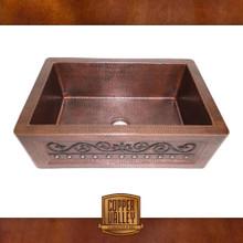 Copper Valley Farmhouse Sink 14 Gauge Scroll Design Kitchen Sink