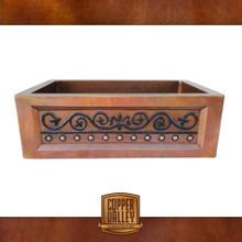 Copper Valley Farmhouse Sink 14 Gauge Vintage Scroll Design Kitchen Sink