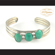 P Middleton Triple Oval Turquoise Sterling Silver .925 Cuff Bracelet