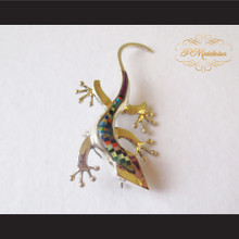 P Middleton Gecko Brooch Pin Sterling Silver .925 with Micro Inlay Stones A6