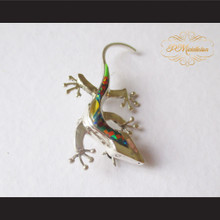 P Middleton Gecko Brooch Pin Sterling Silver .925 with Micro Inlay Stones A10
