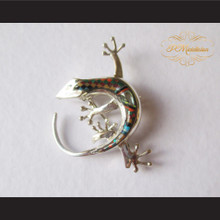 P Middleton Gecko Brooch Pin Sterling Silver .925 with Micro Inlay Stones B5