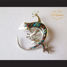 P Middleton Gecko Brooch Pin Sterling Silver .925 with Micro Inlay Stones B8