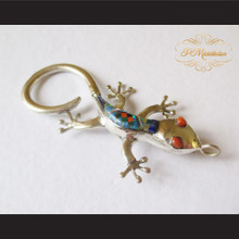 P Middleton Gecko Brooch Pin Sterling Silver .925 with Micro Inlay Stones C1