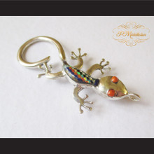 P Middleton Gecko Brooch Pin Sterling Silver .925 with Micro Inlay Stones C2
