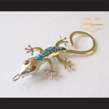 P Middleton Gecko Brooch Pin Sterling Silver .925 with Micro Inlay Stones C3