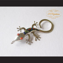 P Middleton Gecko Brooch Pin Sterling Silver .925 with Micro Inlay Stones C6