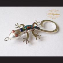 P Middleton Gecko Brooch Pin Sterling Silver .925 with Micro Inlay Stones C8
