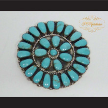P Middleton Turquoise Flower Sterling Silver .925 Brooch Pin
