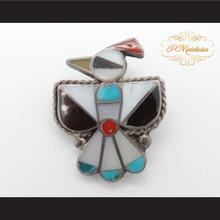 P Middleton Mosaic Inlay Eagle Bird Sterling Silver .925 Brooch Pin