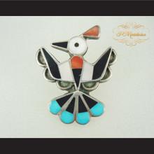 P Middleton Mosaic Inlay Thunderbird Sterling Silver .925 Brooch Pin